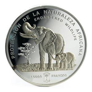 Equatorial Guinea 15000 francs Wildlife Map Elephant mother and calf silver 1992