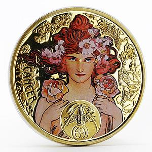 Niue 1 dollar A. Mucha Zodiac Series Cancer gilded silver coin 2011