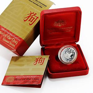 Australia 1 dollar Lunar Series Year of the Dog proof silver coin 2018