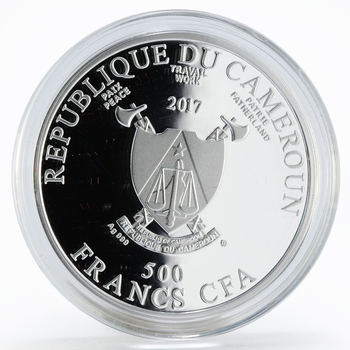 Cameroon 500 francs Cockerel on a Stick colored proof silver coin 2017