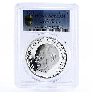 Paraguay 150 guaranies Sir Winston Churchill proof silver coin 1974