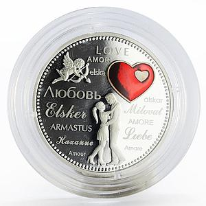 Laos 50000 kip Love colored proof silver coin 2017