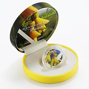 Niue 1 dollar Scented Flowers series Kowhai colored silver coin 2013