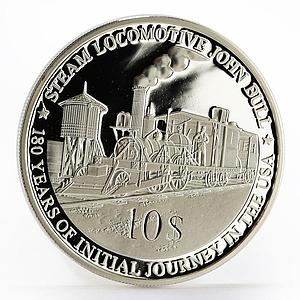 Fiji 1 dollar John Bull Steam Locomotive train railway proof silver coin 2010