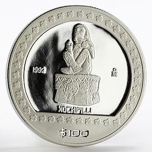 Mexico 100 pesos Seated Sculpture Xochipilli proof silver coin 1992