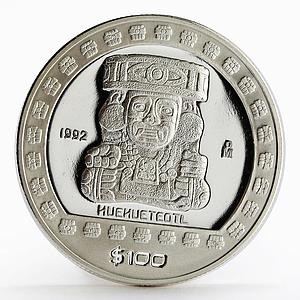 Mexico 100 pesos God of Fire Huehueteotl The Aztek proof silver coin 1992