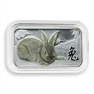 Cook Islands 1 dollar Year of the Rabbit Lunar Brown Coloured Rectangular 2011