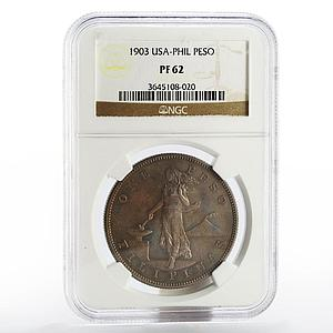 Philippines 1 peso USA PF-62 NGC proof silver coin 1903