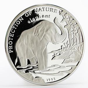 Laos 50 kip Protection of Nature series Asian Elephant proof silver coin 1993