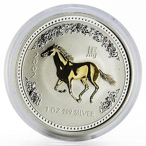 Australia 1 dollar Year of the Horse Lunar Series I gilded silver coin 2002