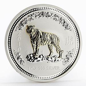 Australia 1 dollar Year of the Tiger 2010 Lunar Series I gilded silver coin 2007