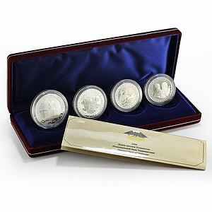 Tajikistan set of 4 coins 15th Anniversary of Independence silver coin 2006
