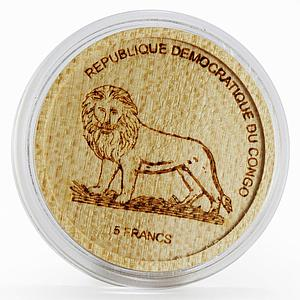 Congo 5 francs Wildlife Protection series Gorilla wood coin 2005