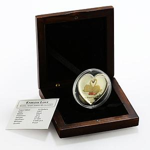 Liberia 10 dollars Endless Love Swans colored proof silver coin 2007