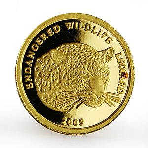 Benin 1500 francs Endangered Wildlife series The Leopard proof gold coin 2005