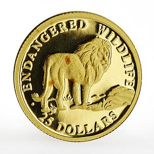Cook Islands 25 dollars Endangered Animal series The Lion proof gold coin 1997