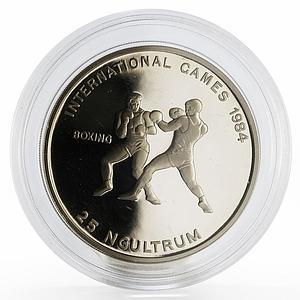 Bhutan 25 ngultrums International Games Boxing proof nickel coin 1984
