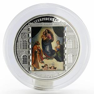 Cook Islands 20 dollars Raphael Art The Sistine Madonna colored silver coin 2009