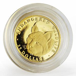 Cook Islands 25 dollars Endangered Wildlife series The Lynx proof gold coin 1990