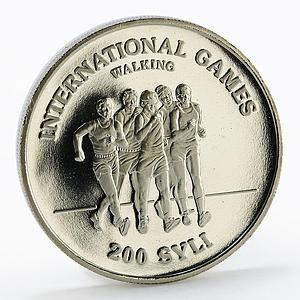 Guinea 200 sylis International Games Walking proof nickel coin 1984