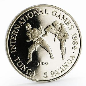 Tonga 5 paanga International Games series Judo proof nickel coin 1984
