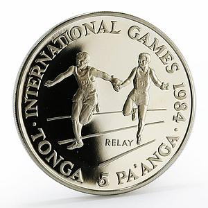 Tonga 5 paanga International Games Relay proof nickel coin 1984