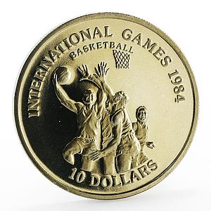 Liberia 10 dollars International Games Basketball proof nickel coin 1984
