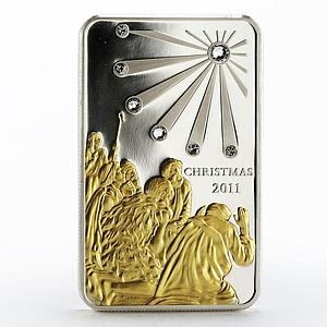 Cook Islands 5 dollars Christmas gilded proof silver coin 2011