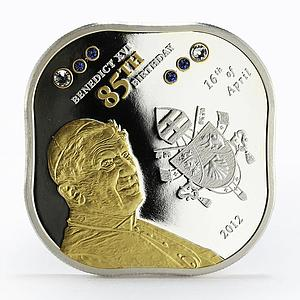 Cook Islands 5 dollars 85 Years of Pope Benedict XVI gilded silver coin 2012