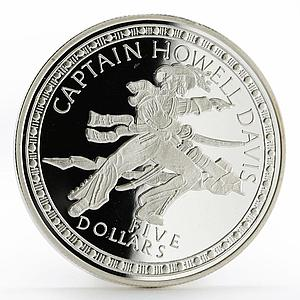 Bahamas 5 dollars Famous Pirates series Captain Howell Davis silver coin 1993