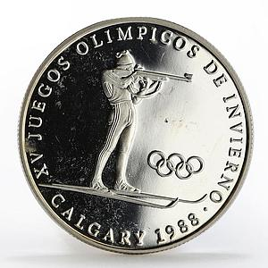 Panama 1 balboa Olympic Winter Games Calgary Biathlon proof silver coin 1988