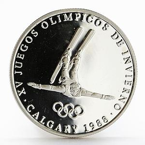 Panama 1 balboa Olympic Winter Games Calgary Freestyle Skier proof silver 1988