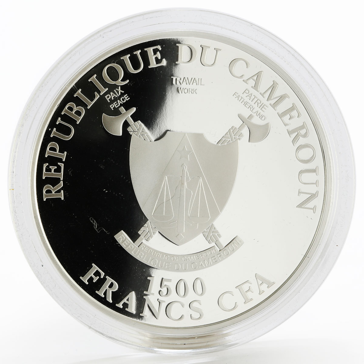 Cameroon 1500 francs Empire State Building colored silver coin 2015