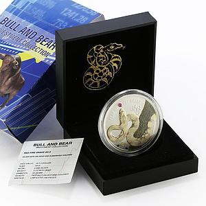 Fiji 20 Dollars Bull and Bear series Red Fire Snake gilded silver coin 2013