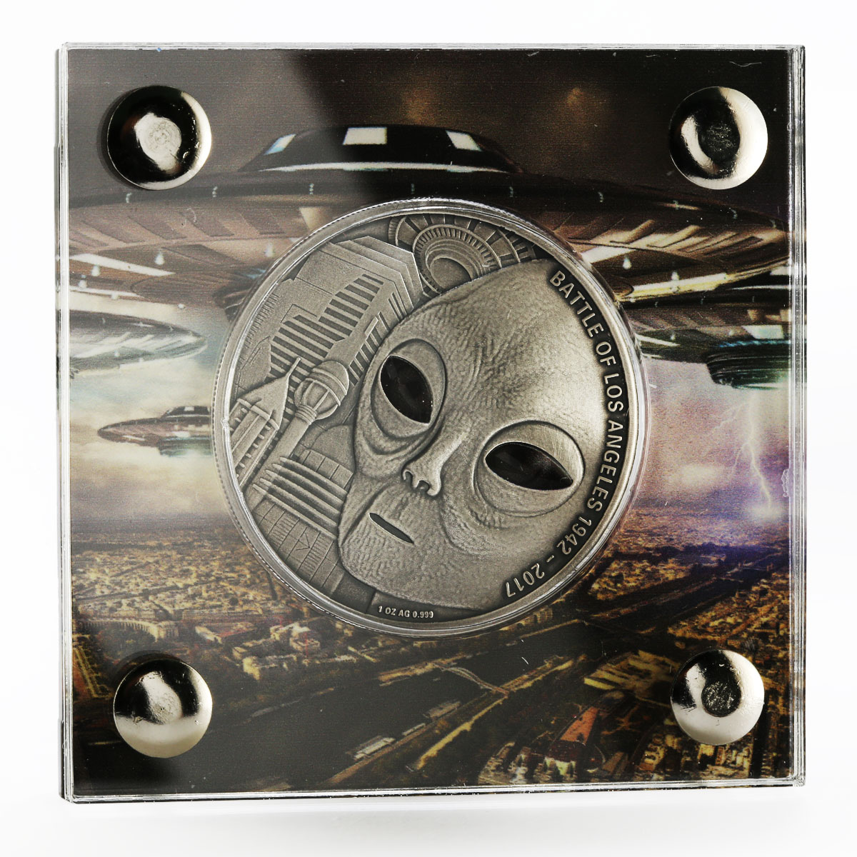 Burkina Faso 1000 francs The Battle of Los Angeles UFO colored silver coin 2017