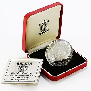 Belize 10 dollars 10th Anniversary of Independence proof silver coin 1991