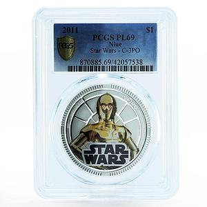Niue 1 dollar Star Wars series C - 3PO base metal silverplated coin 2011