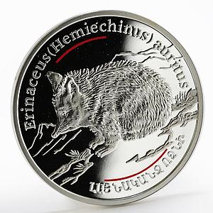 Armenia 100 dram Caucasus Wild series The Wide - Eared Hedhehog silver coin 2006