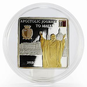 Cook Islands 5 dollars Pope's Apostolic Journey to Malta proof silver coin 2010