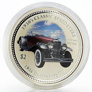 Cook Islands 2 dollars Classic Speedster Duesenberg SSJ colored silver coin 2006