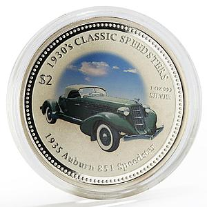 Cook Islands 2 dollars Classic Speedster Auburn 851 colored silver coin 2006