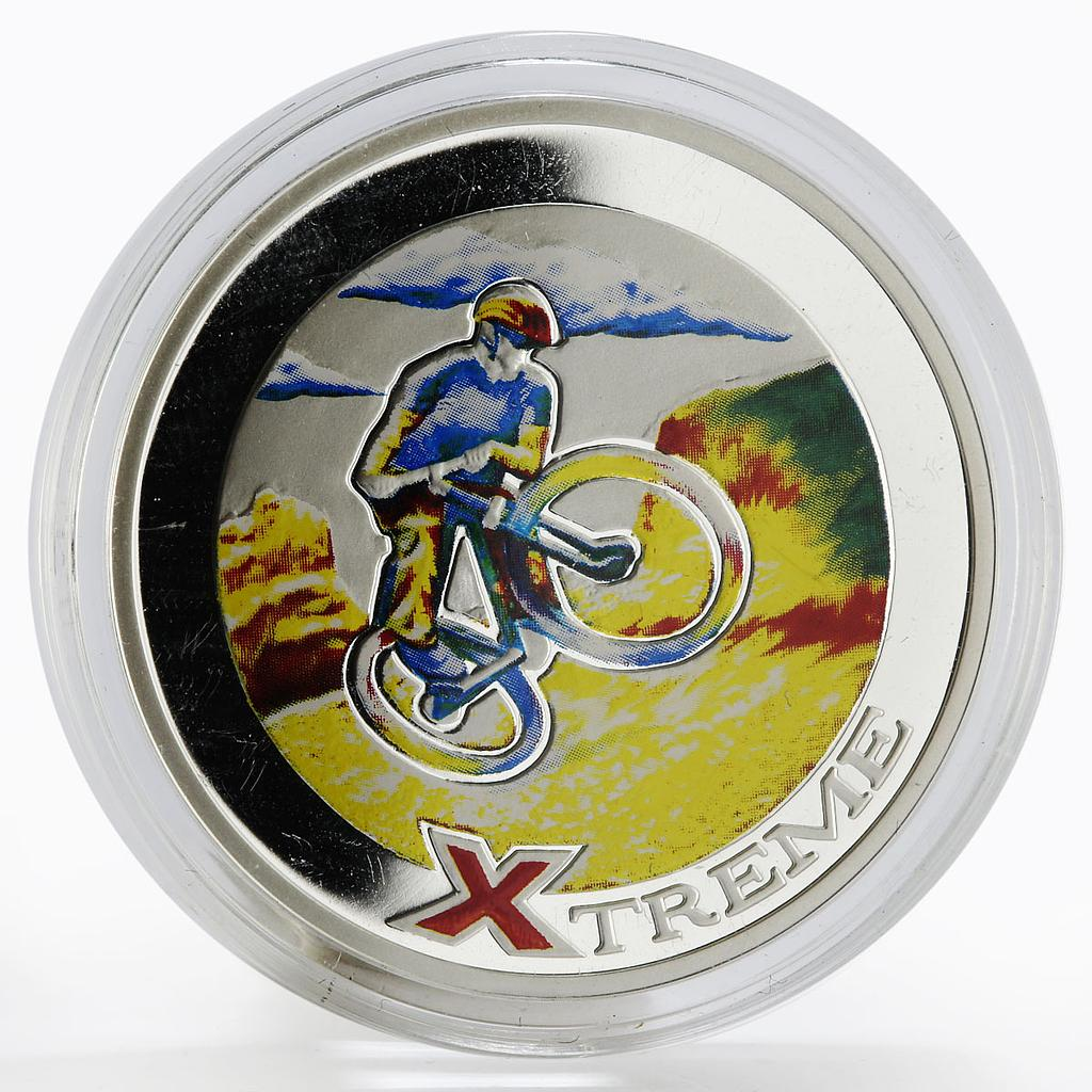 Andorra 10 diners Extreme Sports Mountain Biking colored proof silver coin 2007