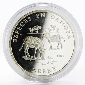 Benin 1000 francs Animals in Danger series Zebra proof silver coin 2001