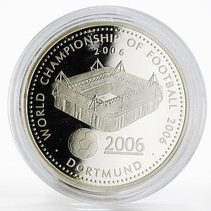 Ghana 500 sika World Championship of Football Dortmund Stadium silver coin 2006
