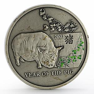 Niue 1 dollar Year of the Pig colored silver coin 2006