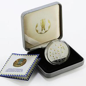 Kazakhstan 500 tenge Homeland of Apples gilded proof silver coin 2013
