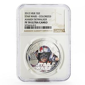 Niue 2 dollars Star Wars Anakin Skywalker PF-70 NGC colored silver coin 2012