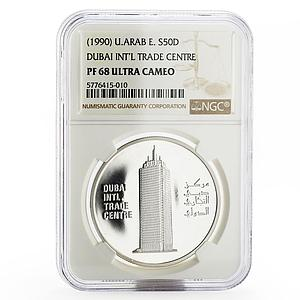 United Arab Emirates 50 dirhams Dubai Trade Centre tower PF-68 NGC coin 1990