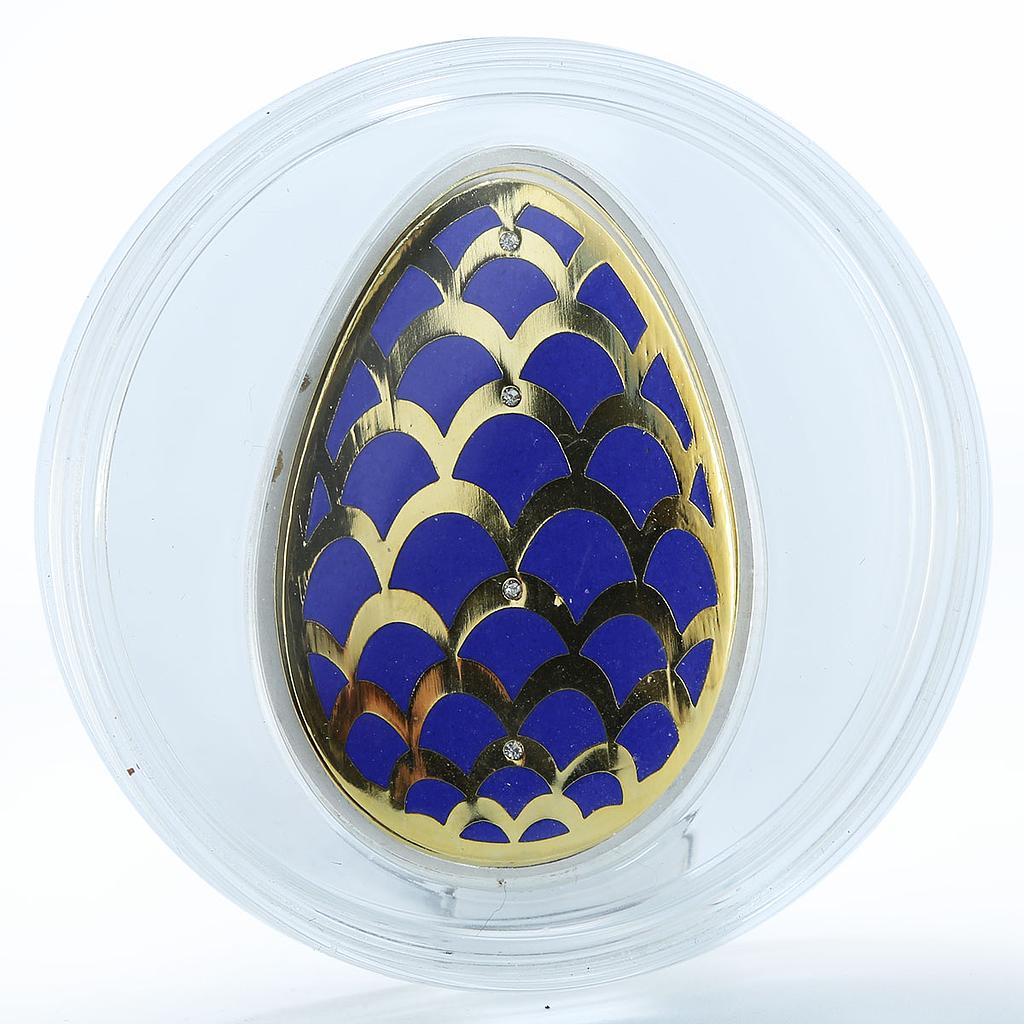 Cook Islands 5 dollars Imperial Eggs in Cloisonne Egg - pine cone silver 2012