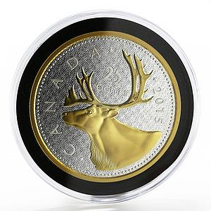 Canada 25 cents Big Coin series The Caribou Deer gilded silver coin 2015
